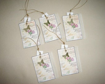 Set of 5 shabby, butterfly and lace