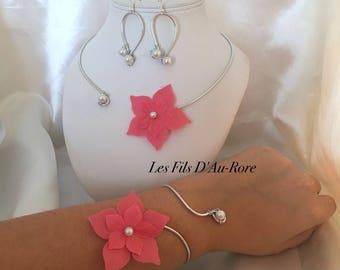 Witness LYBERTIE 3 piece necklace set, bracelet & Earrings in pink/coral
