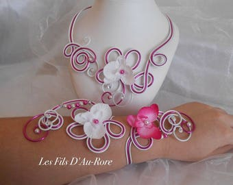 ARIELLE + BRACELET LONG set in pink and white