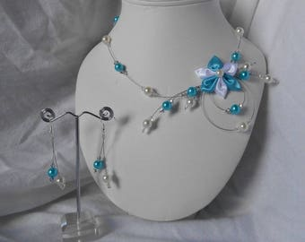JULIETTE 2 adornment pieces with Swarovski pearls and turquoise and white satin flower