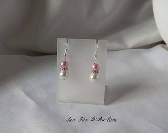 "Earrings ""Blue"" with Pearl & Pink Pearl powder"