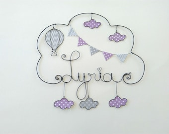 """Wire name customizable cloud """"Around the world balloon with clouds"""" wall decor for child's room"""