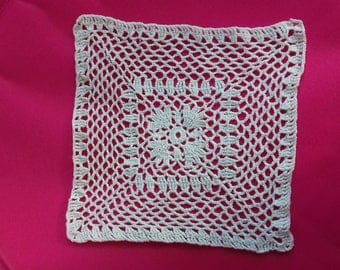 square white color crochet doily