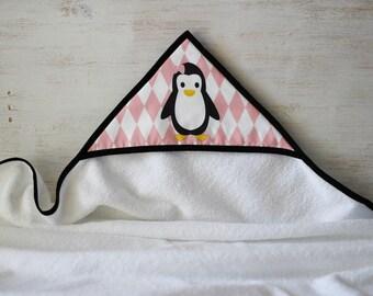Pink hooded towel pattern Penguin