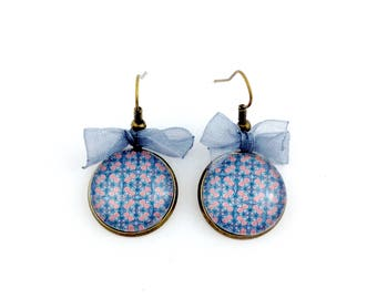 Long bronze earrings * blue and pink mosaic Cabochon