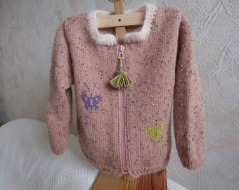 Jacket in 2 to 3 years pink wool, jacquard butterflies