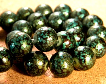 20 beads speckled - 12 mm - Green and black-PE196-1