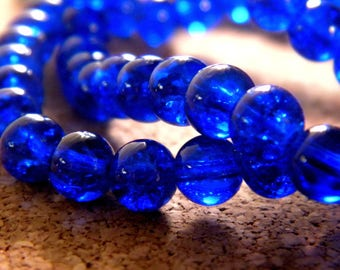 Crackle Glass 6 mm - blue royal - PE126 100 beads