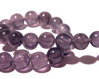 23 pearls jade natural 8 mm - grey translucent - gem stone - PG168