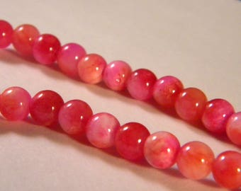 25 beads Malaysian jade 6 mm - pink-bright gem stone - to-PP-12