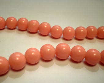 50 beads 10mm pink salmon No. 10