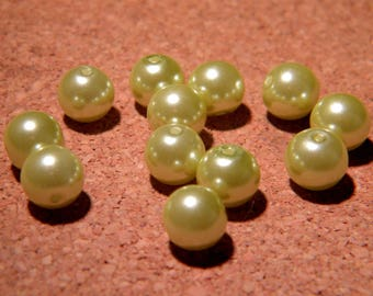 20 beads-8 mm - seagreen - VN32 pastel Pearly iridescent glass