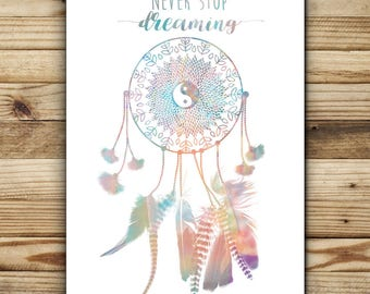 "French illustration dream catcher design greeting card ""Never stop dreaming FSC paper 2"""