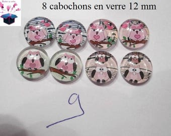 8 glass cabochons 12 mm for loop theme OWL / OWL number 9