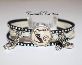 Cat Ribbon suede Rhinestone Charm Cuff Bracelet