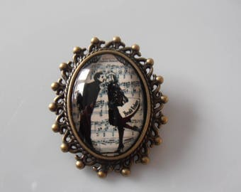 Love deco glass and metal brooch