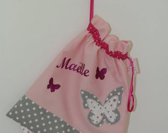 Small backpack powder pink/gray Pearl customizable to hold the blanket, pacifier...