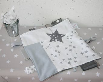 Taggy white and grey starred soft custom name