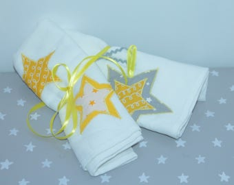 Duo of diapers 60 x 60 in yellow, gray, white clouds