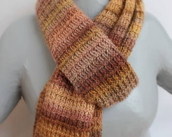 men scarf dot embossed brown and ochre