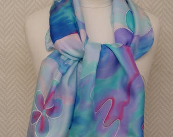 """Scarf, shawl, scarf hand painted """"Diving"""" pastel blue silk pongee."""