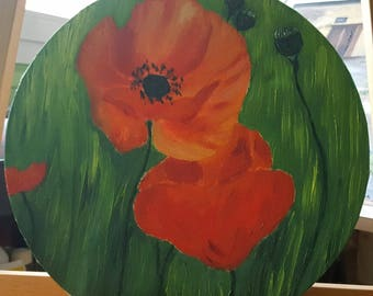 30 cm round canvas poppy oil painting