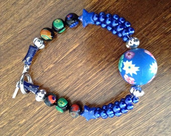 Bracelet fancy with Pearl Center and ceramic beads