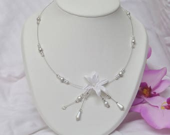 "Necklace, wedding, ceremony or party, Pearl, model ""Emilie"""