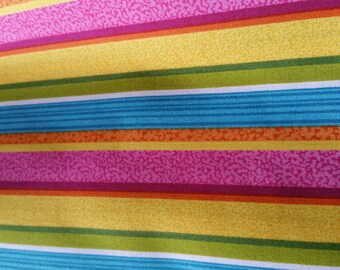 fabric cotton multicolored striped pattern