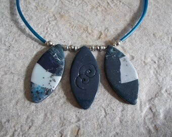 Blue calissons fimo polymer clay necklace