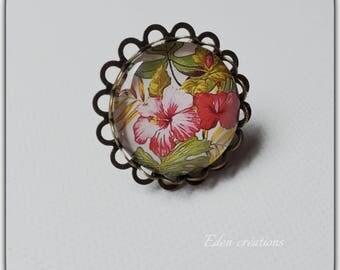 Ring cabochon glass sweet paradise, Flemish rose, Hawaii, Hibiscus flowers