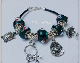 Clearance silver charm bracelet lampwork glass beads and Tibetan