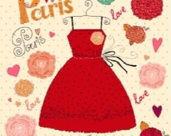Paris fashion counted cross stitch