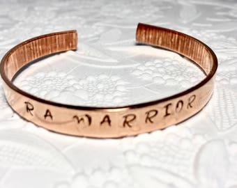 Rheumatoid Arthritis RA Warrior Copper Bracelet, RA Awareness , Spoonie, Hand-stamped
