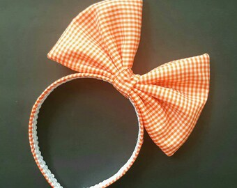 Halloween oversized bow, orange and white gingham bow