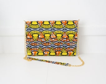 NOLA - Gold metal chain with African fabric shoulder bag