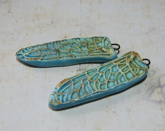 Dragonfly wings, ceramic, OOAK pendants, turquoise blue ombre
