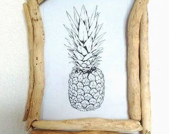 Small Driftwood pineapple picture frame