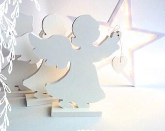 Ange Coeur en bois découpé porte un coeur,objet décoratif