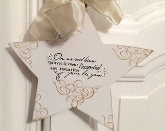 Etoile en bois blanc avec message à suspendre