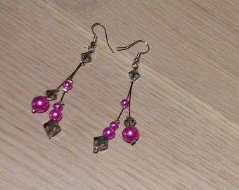 Bride, wedding earrings fuchsia/black earrings not cheap