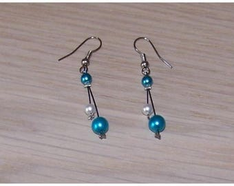 Bride, wedding earrings blue turquoise/white, earrings not cheap