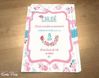 Personalized printable birthday invitation theme: Shabby chic