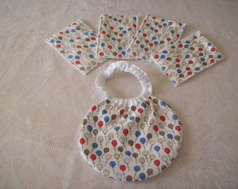 bib for Doll or baby wipes (like cotton printed with footballs)