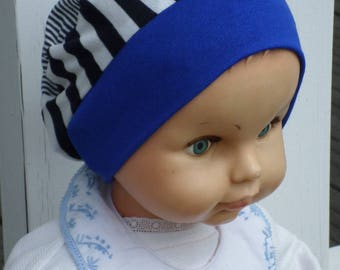 baby blue and Navy cotton jersey baby Hat beret Hat