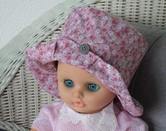 chapeau de soleil bébé créateur lin'eva coton été blanc et rose