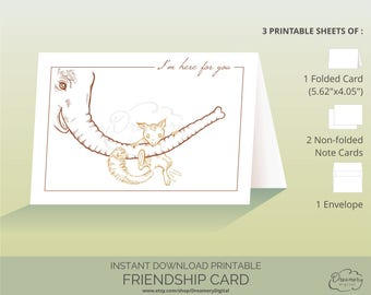 Friendship supportive card, Digital download hand drawn illustrated folded card, I am here for you