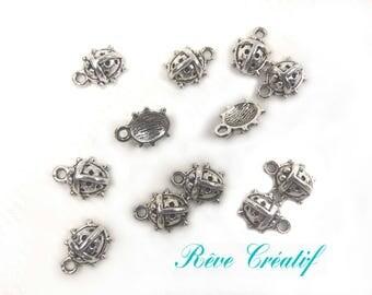 10pcs Pendant Charm Ladybird Ladybug, silver metal 11mm