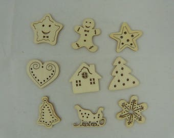 Wooden subjects embellishment: subjects of Christmas