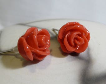 Romantic red flower earrings